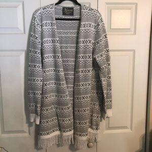 NATURAL REFLECTIONS XXL Cardigan Gray White Boho